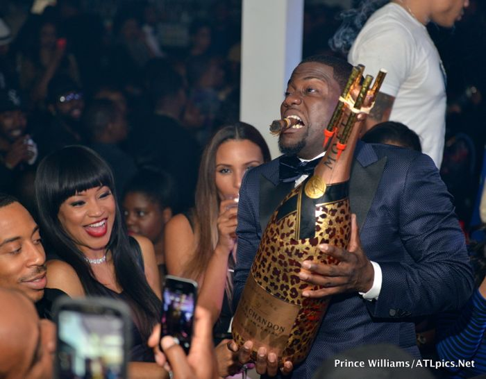Kevin Hart With Moet Nir Leopard Bottle