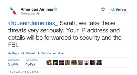 American Airline tweet