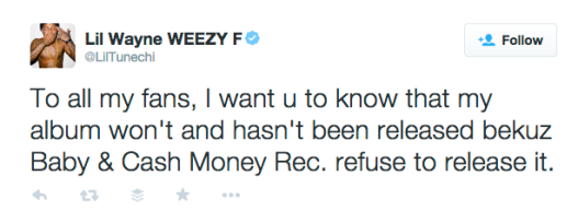 lil wayne cash money tweet