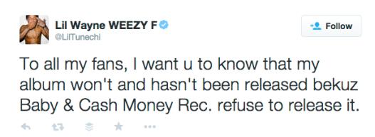 lil wayne cash money tweet