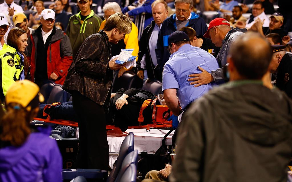 The woman struck by the foul ball at the Cubs vs Pirates game went straight to the ground after being hit.