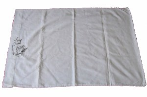 Used and signed Michael Jackson pillow case